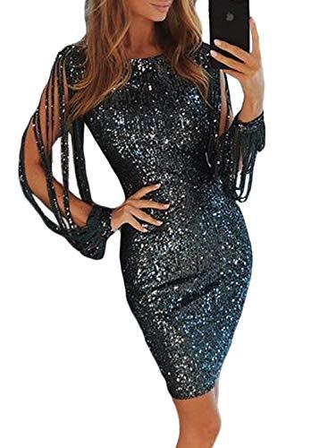 Lovezesent Womens Sexy Sequin Tassel Sleeve Bodycon Night Club Cocktail Party Midi Dress Black Large