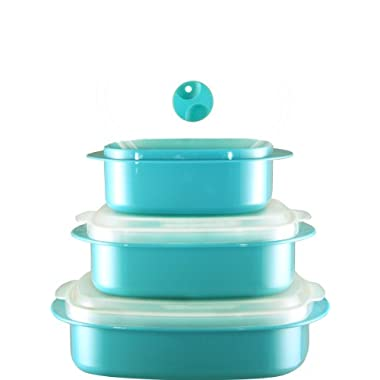 Calypso Basics 3-Piece Microwave Steamer Set, Turquoise