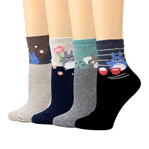 LIVEBEAR Womens Cute Mini Print Funny Novelty Crew Socks Made In Korea (Totoro)