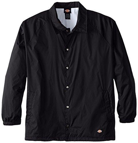 Dickies Men's Big Snap Front Nylon Jacket, Black, 4X (Snap Dickies)
