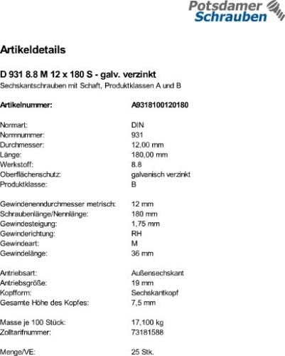 25 Sechskantschrauben DIN 931 8.8 verzinkt M12x180