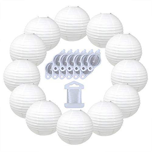 Just Artifacts 12inch Decorative Round Chinese Paper Lanterns 10pcs w/ 12pc LED Lights and Clear String (Color: White) -