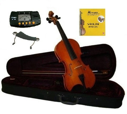 MERANO 1/4 Size Natural Violin with Case and Bow+Free Rosin,Bridge,2 Sets of Strings,Shoulder Rest,Metro Tuner~Good for the Beginner,Student,Starter,Child
