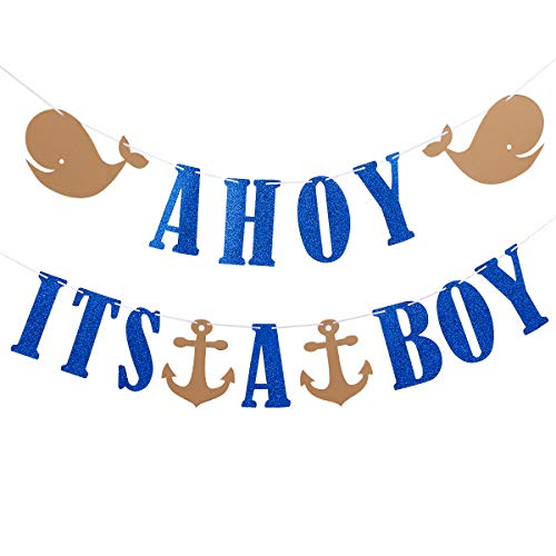Nautical Baby Shower Supplies (Ahoy Its A Boy Glitter Banner- Nautical Theme Baby Shower Party Banner Decor or Baby Boy Party Decoration Supplies- Safe & Eco-Friendly)