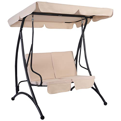 Tangkula 2 Person Canopy Swing Chair Patio Hammock Seat Cushioned Furniture Steel (Beige)