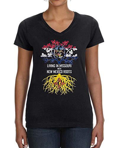 Missouri Ladies T-shirt - Tenacitee Ladies Living in Missouri Mexico Roots V Neck T-Shirt, X-Large, Black