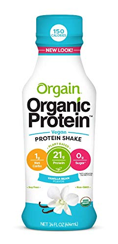Orgain Organic 21g Plant Based Protein Shake, Vanilla Bean, Vegan, Gluten Free, Non-GMO, 14 Ounce, 12 Count (Packaging May Vary)