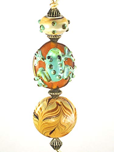 Pet Frog for Animal Lovers in Amber, Tan & Green Light or Ceiling Fan Pull with Lampwork Glass
