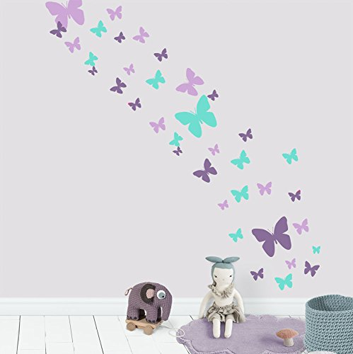 Create-A-Mural Butterfly Wall Decals- Girls Wall Stickers ~ Decorative Peel & Stick Wall Art Sticker Decals (Lavender,Lilac,Mint)