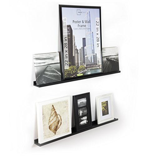WALLNITURE Modern Floating Wall Ledge Shelf for Pictures and Frames Black 46 Inch Set of 2