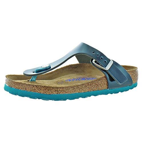 (Birkenstock Women's Gizeh T-Strap Thong Cork Sandals Green Size 37)