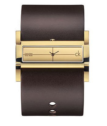 Calvin Klein Brown Leather Cuff Ladies Watch - K4423209