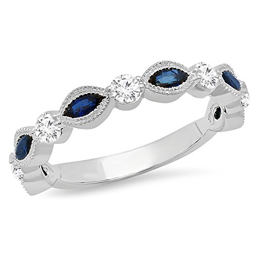 - Dazzlingrock Collection 10K Marquise Blue Sapphire & Round White Diamond Ladies Vintage Wedding Band, White Gold, Size 6