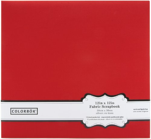 Colorbok 62076 Fabric Post Bound Album, 12-Inch x 12-Inch, Red
