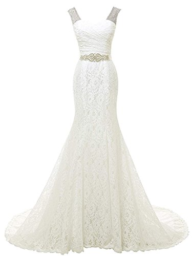 SOLOVEDRESS Women's Beaded Lace Evening Dress Prom Bridal Gown Beach Mermaid Wedding Dress (Ivory,US8)