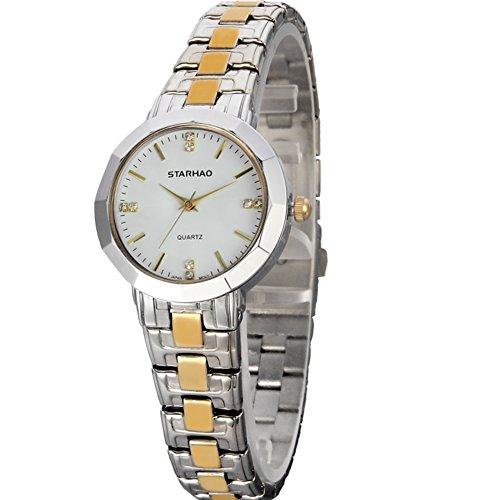 Stylish Woman Man Quartz Analog Wrist Watch Strip Dial Blue Band - 5