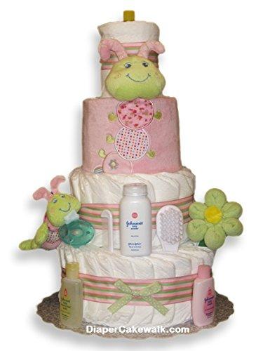 Diaper Cakes ''Cutsie Caterpillar'' Baby Girl Diaper Cake (4 TIER, PINK)