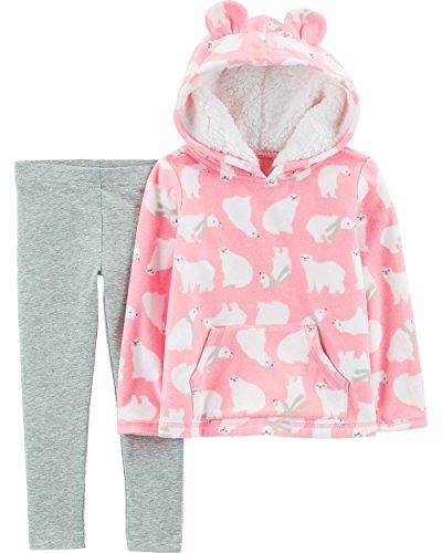 Carter's Girls' 2-Piece Polar Bear Fleece Hoodie and Legging Set (Pink/Polar Bear, 5T)