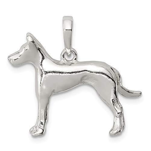 (Jewel Tie Sterling Silver Great Dane Pendant - (0.75 in x 0.94 in))