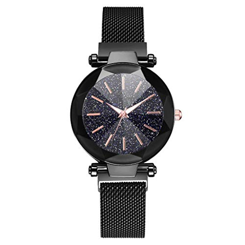 WoCoo Womens Starry Quartz Analog Watch Crystal Convex Dial Wristwatch with Stainless Mesh band Fashion Watches(Black,12 Scales)
