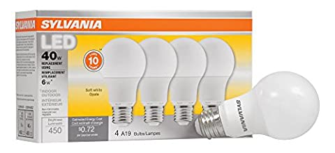 SYLVANIA, 40W Equivalent, LED Light Bulb, A19 Lamp, 4 Pack, Soft White, Energy Saving & Longer Life, Value Line, Medium Base, Efficient 6W, (Sylvania 2700k Led)