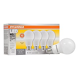 SYLVANIA, 40W Equivalent, LED Light Bulb, A19 Lamp, 4 Pack, Soft White, Energy Saving & Longer Life, Value Line, Medium Base, Efficient 6W, 2700K