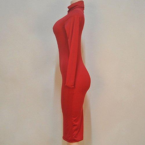 Honghu Vestido para Mujer Del Partido Del Club De La Manga Larga Rojo