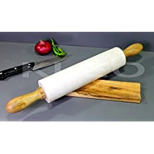 "KLEO 18"" Natural White Marble Stone Rolling Pin with Wood Handles & Cradle"