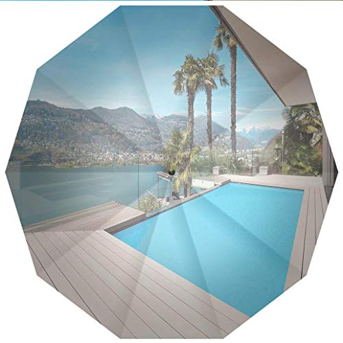 10 Ribs Travel Umbrella UV Protection Auto Open Close House Decor,Modern House Beautiful Patio with Pool Outdoor Wooden Deck Timber Windproof - Waterproof - Men - Women -Lightweight- 45 inches