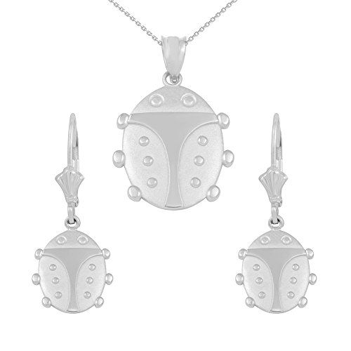 14k White Gold Ladybug (14k White Gold Ladybug Pendant Necklace and Dangle Earrings, 20