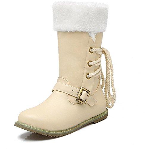 XIAOGANG H HInvierno mujeres (negro, blanco, beige) frente encaje en la nieve botas botas hebilla desgaste respirable goma botas planas, Beige, 39