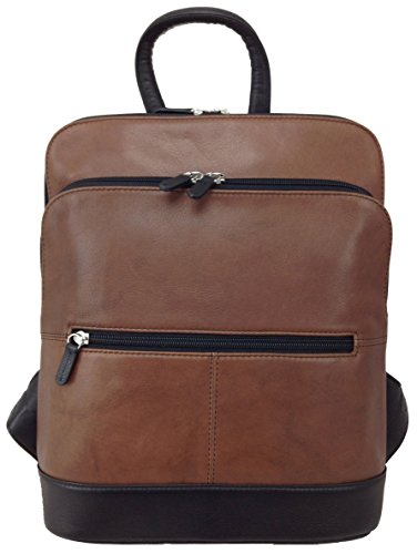 ili Leather 6505 Backpack Handbag (Toffee/ Black) by ILI