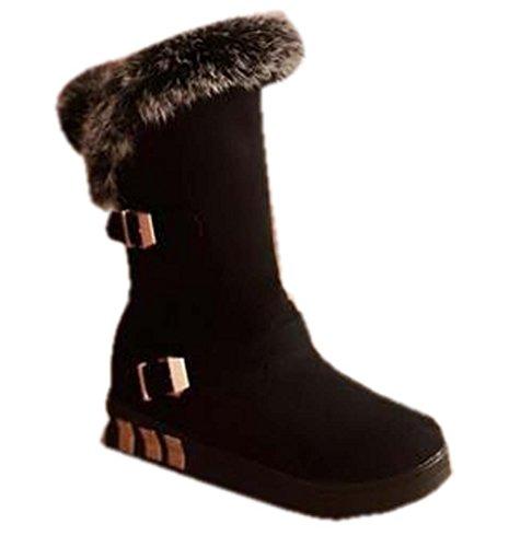 Naughtyangel Women Winter Warm Snow Ankle Platform Belt Buckles Boots Faux Fox Rabbit Fur Shoes Black xOmp81bc