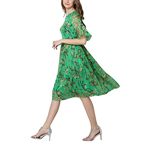 Mena UK WOMEN\'S Lace Florl Print Kleid Midi Casual Kleider Grün ...
