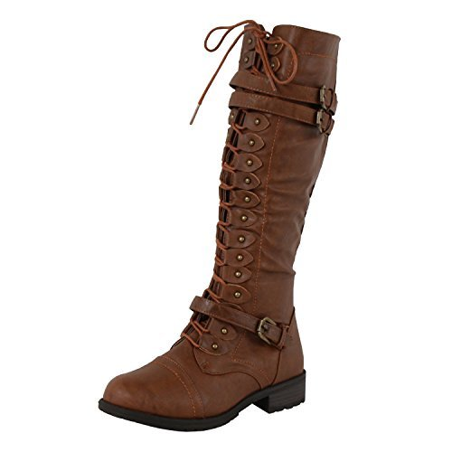 Wild Diva Timberly-65 Women's Fashion Lace Up Buckle Knee High Combat Boots (9 B(M) US, - Womens Knee Boots Brown High