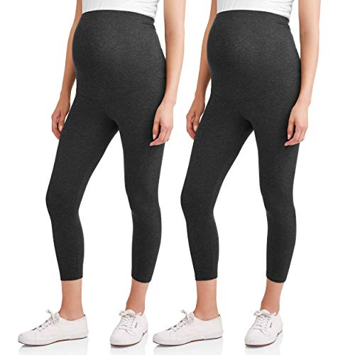 RUMOR HAS IT Maternity Over The Belly Capri Crop Support Leggings (Small, Charcoal (2 Pack))