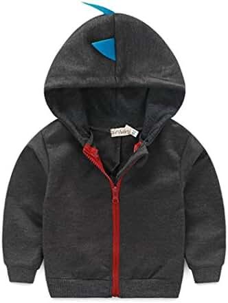Baby Boys Long Sleeve Dinosaur Hoodies Clothes Jacket Toddler Zip-up Sweatshirt