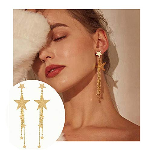 Women's Gold Pentagram Earrings - Charm Wicca Pagan Jewelry for Girls (Gold 1) ()