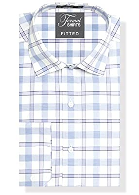 Formal Shirts Fitted Plaid Mens Dress Shirt or Tuxedo Shirt, 100% Luxe Microfiber, Spread Collar