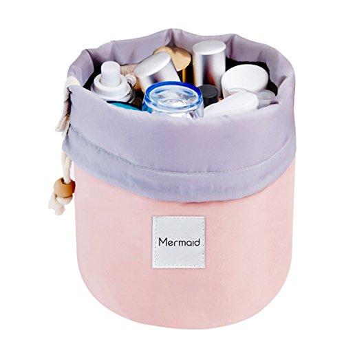 Mermaid Travel Make up Bag Cosmetic Makeup Bags Organizer Women Girls Barrel Shaped Hanging Toiletry Wash Bags Drawstring Makeup Storage Bag + Small Pouch+ Clear PVC brush bag (Pink) (Drawstring Wash)