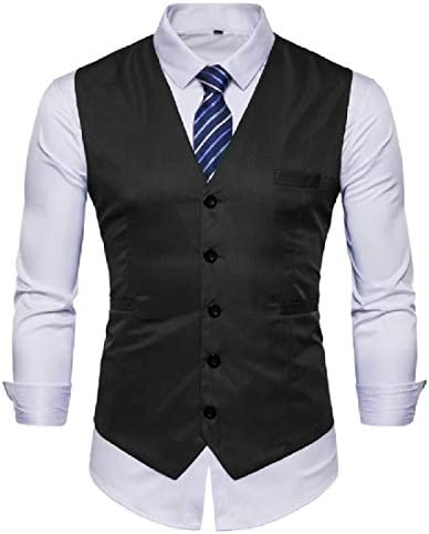 Bravepe Men Slim Fit Double Breasted Sleeveless U Collar Business Dress Suit Vest