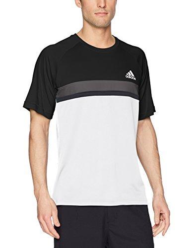 adidas Mens Tennis Club Color Block Tee, Black, Large