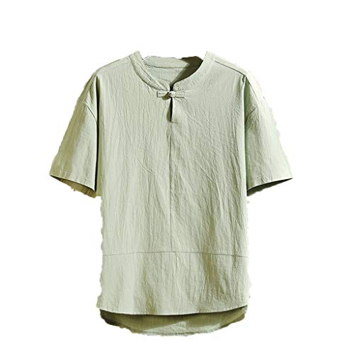 New Asparagus Server - NUWFOR Men's Summer New Flax Five-Sleeve Loose Short Sleeves Fashion Comfortable Blouse(Green,US M Chest:41.73