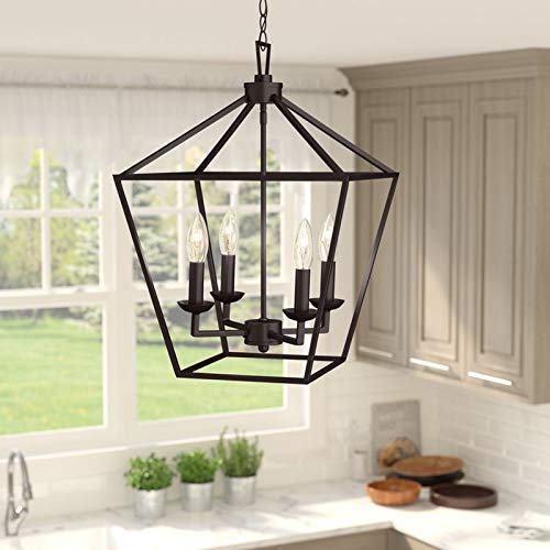 (4-Light Lantern Pendant - Contemporary Ceiling Light Fixture for Dining Room,Kitchen,Living Room or Bedroom (Rubbed Oil Bronze))
