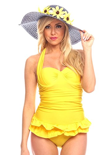 LOLLI COUTURE HALTER TOP DOUBLE RUFFLE FABRIC PADDED CHEST ONE PIECE SWIMSUIT S YELLOW