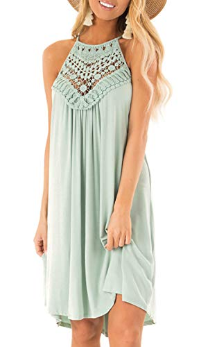 ECOWISH Womens Halter Neck Lace Patchwork Backless Loose Tunic Tank Dress Sleeveless Casual Top Dresses LightGreen XLarge