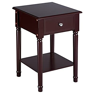 SONGMICS Wooden End/Side Table Modern Nightstand bedside table with 1 Sliding Drawer and Shelf for Storage