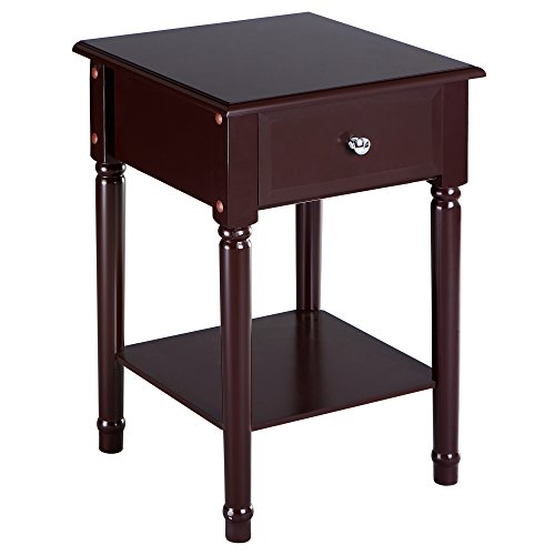 SONGMICS Nightstand Bedside Corner Table with Solid Pine Wood Legs, Square Sofa End Side Table with 1 Sliding Drawer and Shelf for Storage Mahogany Color URDN07Z (Furniture Pine Solid)