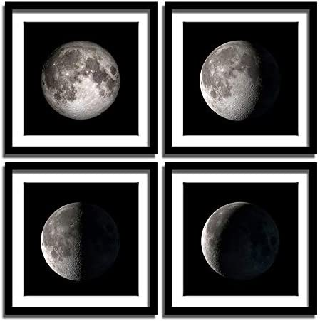 Geometry MOON 21 Moon Phases Art Moon Modern Art Black And White Planet Wall Art Red Gray Black Moon Canvas Print Space Art