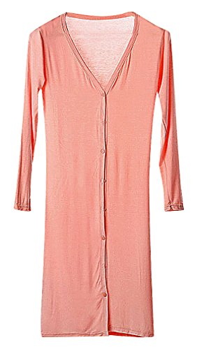 Maze, Women's Solid Color Slim V Neck Buttoned Long Sleeve Knee Length Cardigan, Pink One Size